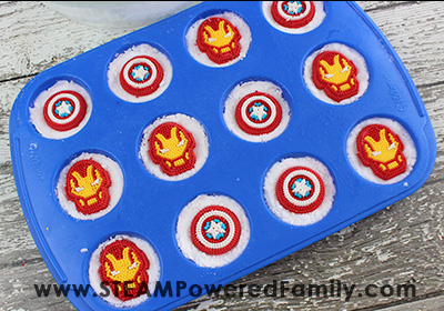 Finished Avengers Bath Bombs being left to dry