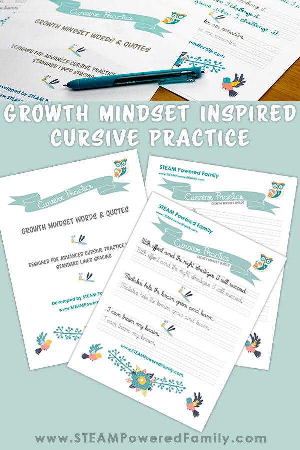 Growth Mindset Inspired Cursive Practice Worksheets