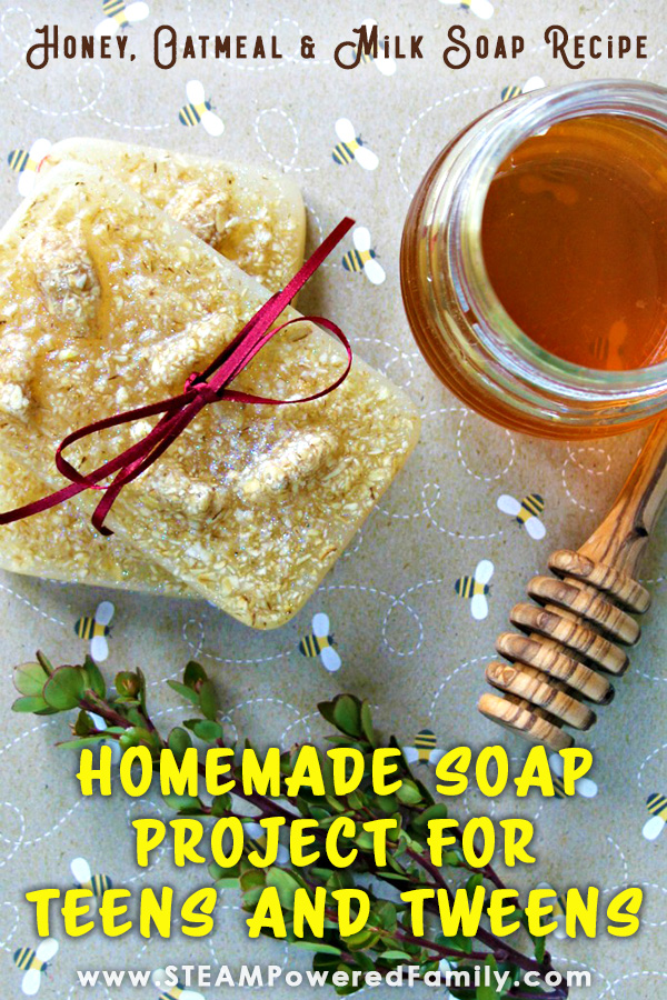 Homemade honey oatmeal and milk soap bars are a great soap making project for kids