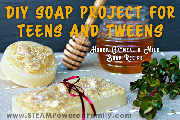 Luxurious homemade soap recipe that is perfect for a DIY project for teens and tweens