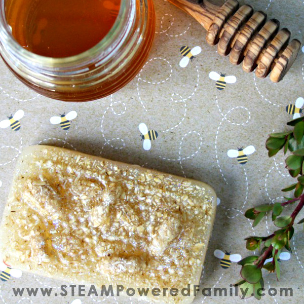Oatmeal, honey and milk soap recipe great for kids to make