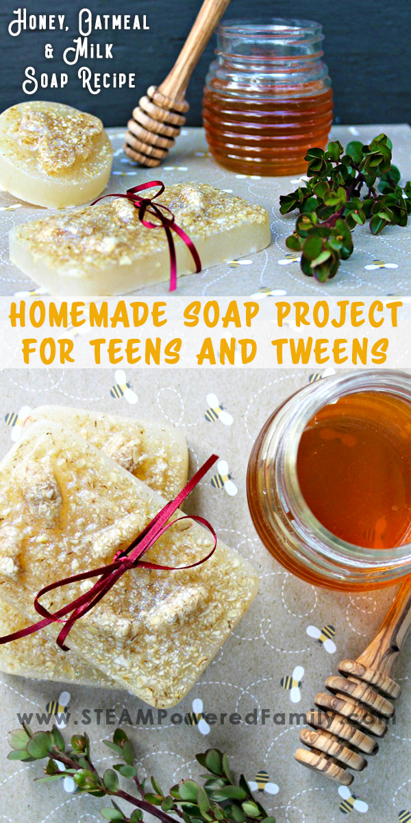 This easy homemade soap recipe is the perfect project for teens and tweens, and the results make gorgeous gifts! Learn the benefits of making homemade soap, the make your first batch of this luxurious Oatmeal, Honey and Milk Soap recipe. Simple ingredients and steps make this a great first step in soap making.