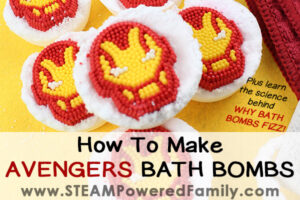 Feature image showing homemade Avengers Bath Bombs