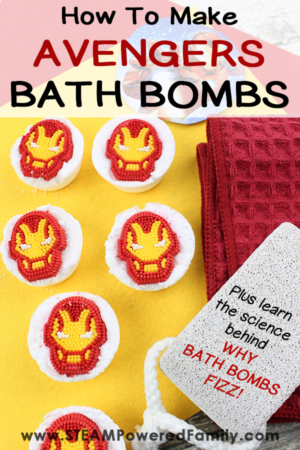 Homemade Avengers Bath Bomb Recipe with the science behind the fizz