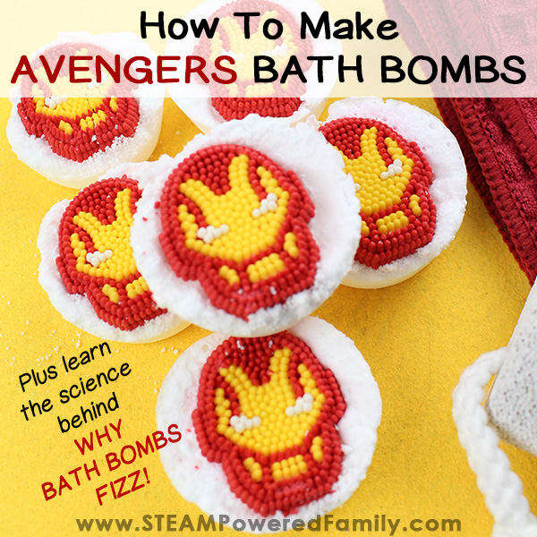 DIY Avengers Bath Bombs for kids with a chemistry lesson that will have kids asking for more!