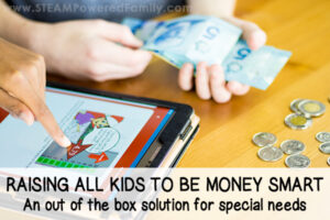 Kids with money and a tablet learning with CIBC Magnus Cards Deck how to be money smart