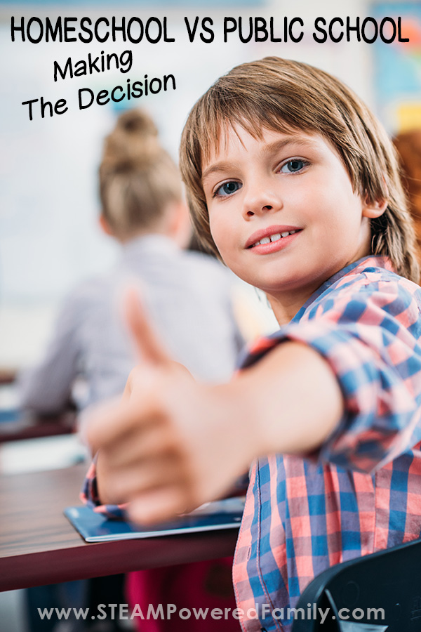 A child giving the thumbs up featuring the debate between homeschool vs public school