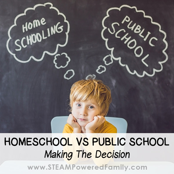 Child in front of chalkboard contemplating homeschool vs public school