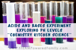Experiment exploring acids and bases, plus pH levels. Lined up test tubes show the results of the chemistry experiment.
