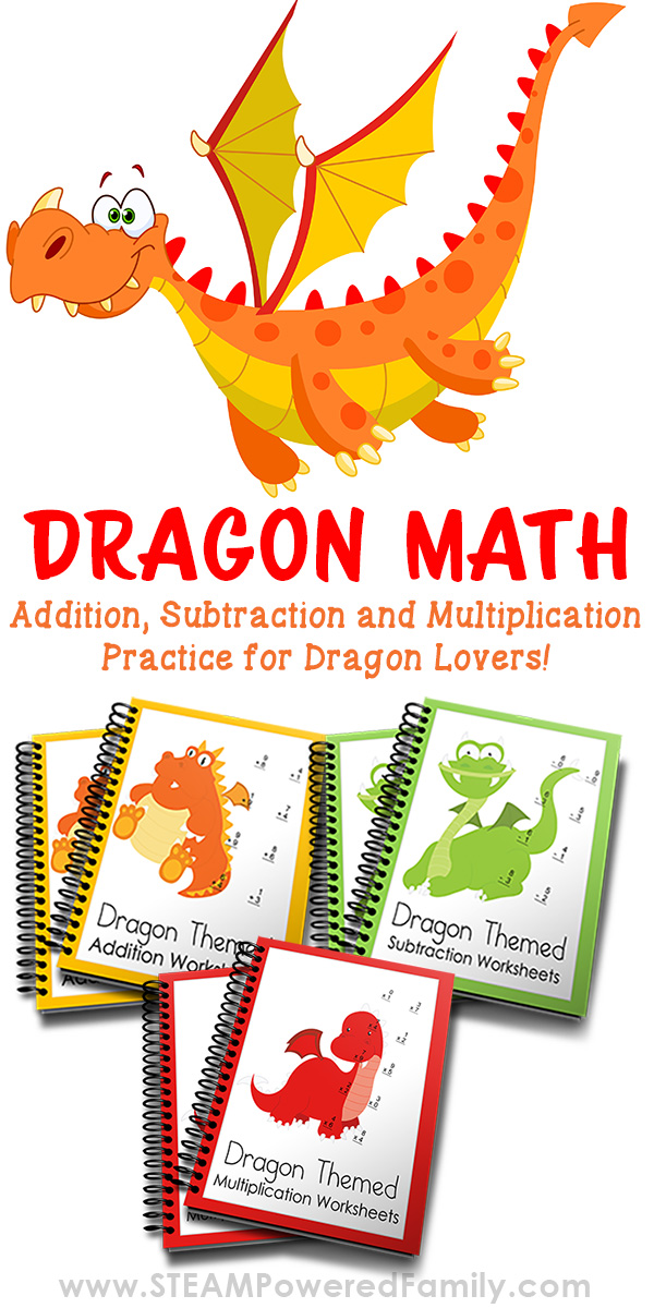Dragon math practice worksheets make addition, subtraction and multiplication fun!