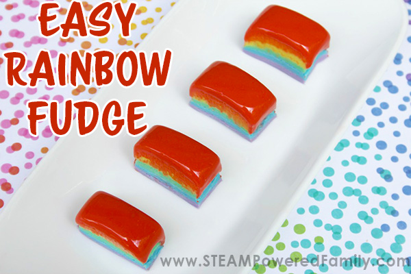 Gorgeous rainbow fudge is sure to be a hit at your next party, celebration or gathering. Simple, easy recipe kids love.