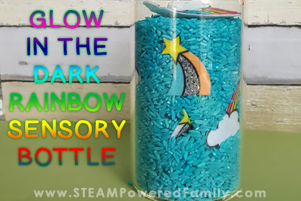 Glow in the dark rainbow sensory bottle