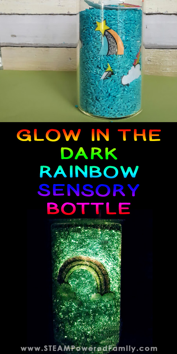 Showing a rainbow sensory bottle in regular light plus in darkness glowing in the dark
