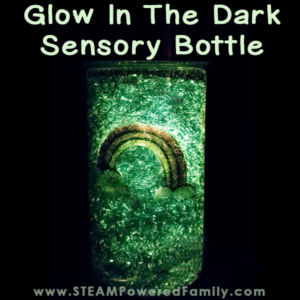 Rainbow Sensory Bottle That Glows In The Dark