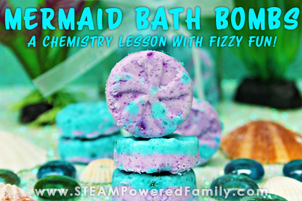 Homade Mermaid Bath Bombs recipe with video tutorial. Great chemistry lesson for kids
