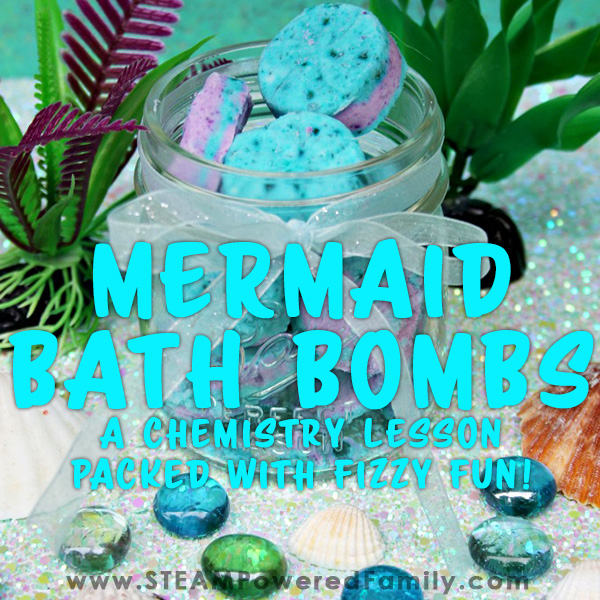Mermaid, under the sea, bath bomb recipe with video tutorial and chemistry lesson for kids