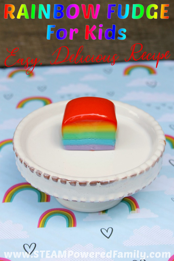 Easy rainbow fudge recipe that looks amazing, tastes delicious, and is so simple kids can make it themselves! Always a hit at parties, potlucks, end of year celebrations or just because you need a little extra rainbow sweetness in your life. This recipe is the perfect solution! Rainbow fudge video included #RainbowFudge #EasyFudgeRecipe #RainbowFudgeVideo #RainbowFudgeEasy #RainbowFudgeRecipe #RecipesForKids #RecipesForKidsToMake
