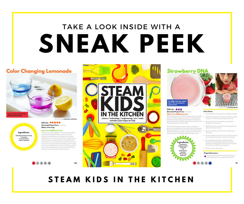 A sneak peek inside STEAM Kids In The Kitchen showing color changing lemonade and strawberry DNA science experiments