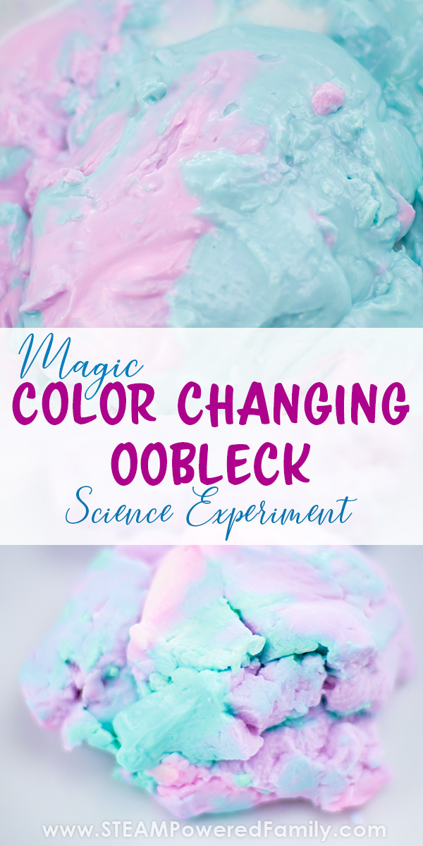 Colour changing oobleck science experiment is a fascinating study into non-Newtonian fluids and chemistry for kids