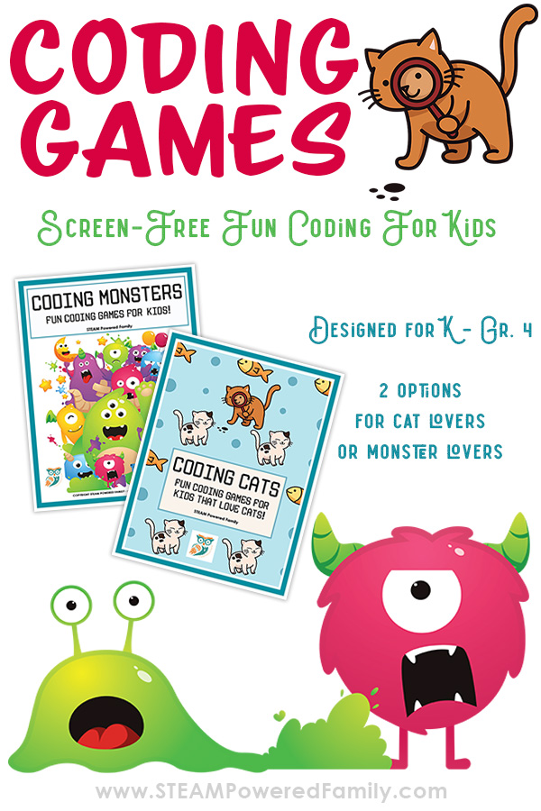 Coding games for kids to learn skills screen free. Perfect for Kindergarten through grade 4. Two themed packets are available one for cat lovers and one for little monsters.