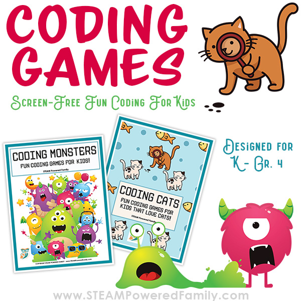 Coding for kids can be fun and easy with this packet of games and activities for kindergarten to Grade 4