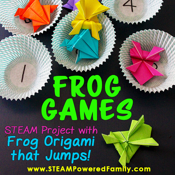 Frog Games STEAM Education with Frog Origami that hops and jumps