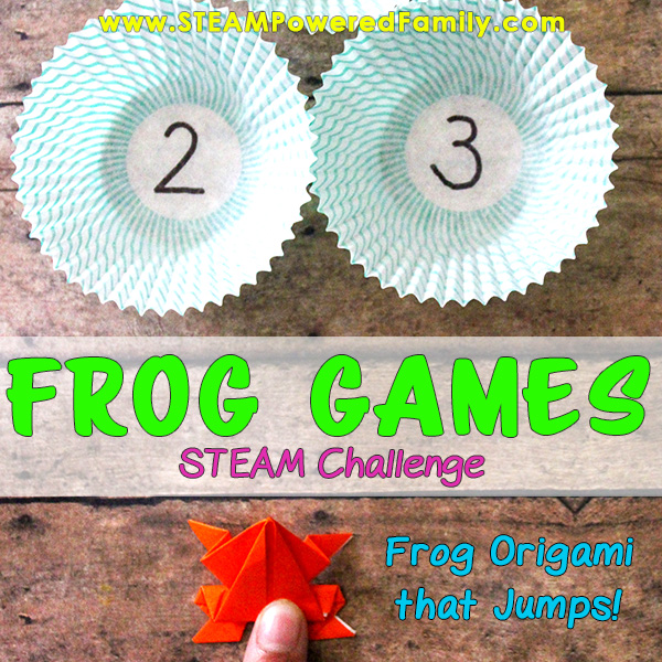 Frog game using origami frogs that jump