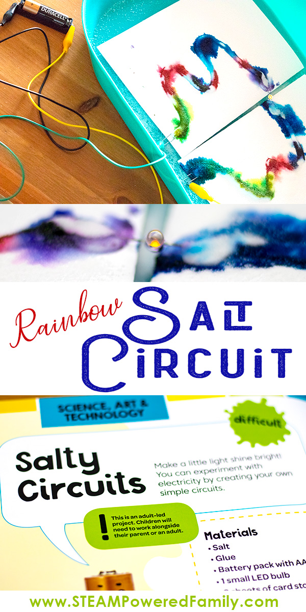 Building salt circuits is an easy circuit experiment that appeals to all ages. Turn it into a STEAM project with the addition of some beautiful colours and designs.