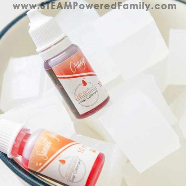 DIY melt and pour soap making to create pencil soaps