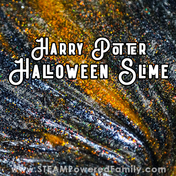 Harry Potter inspired Halloween slime that is filled with glittery magic that is perfect for Halloween