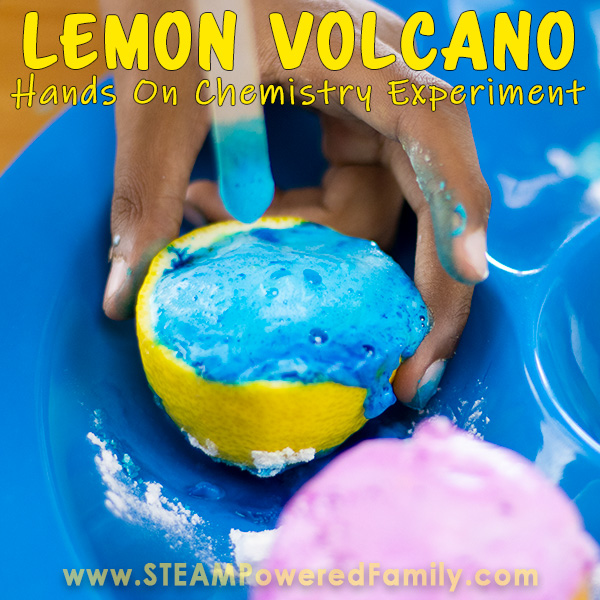 Child doing chemistry experiment creating a lemon volcano experiment. A fantastic science experiment for kids.