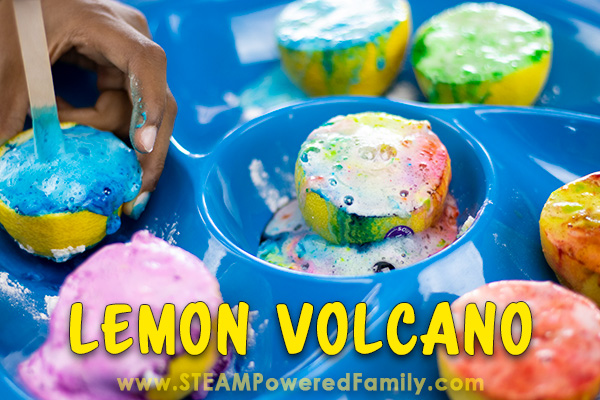 Lemon Volcano science experiment creating a rainbow of colours in this beautiful, amazing smelling, sensory rich, science experiment.