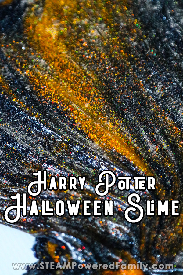 Harry Potter inspired Halloween slime that is absolutely gorgeous with magical glittery highlights
