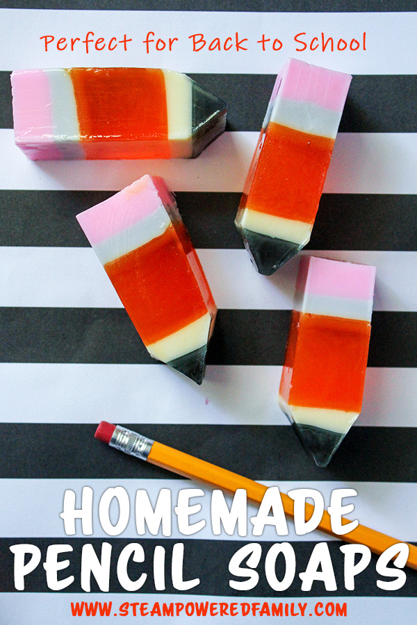 Learn how to make these crazy cute DIY pencil soaps. Super easy and fun, this is a fantastic idea for a back to school project. #BackToSchool #BackToSchoolDIY #BackToSchoolIdeas #SoapMaking #SoapMakingForKids #SoapMakingForBeginners