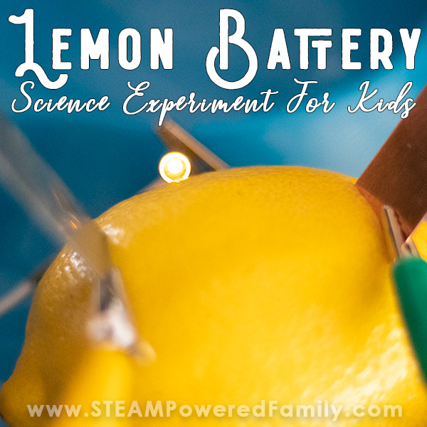 Lemon Battery science experiment teaches elementary students about electricity, electrons, conductors, electrodes, electrolytes, volts and more.