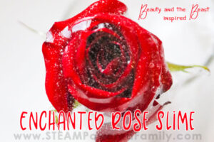 Enchanted Rose Slime Recipe is made with real roses and contact lens solution for a beautiful sensory experience inspired by the beloved princess story Beauty and the Beast.
