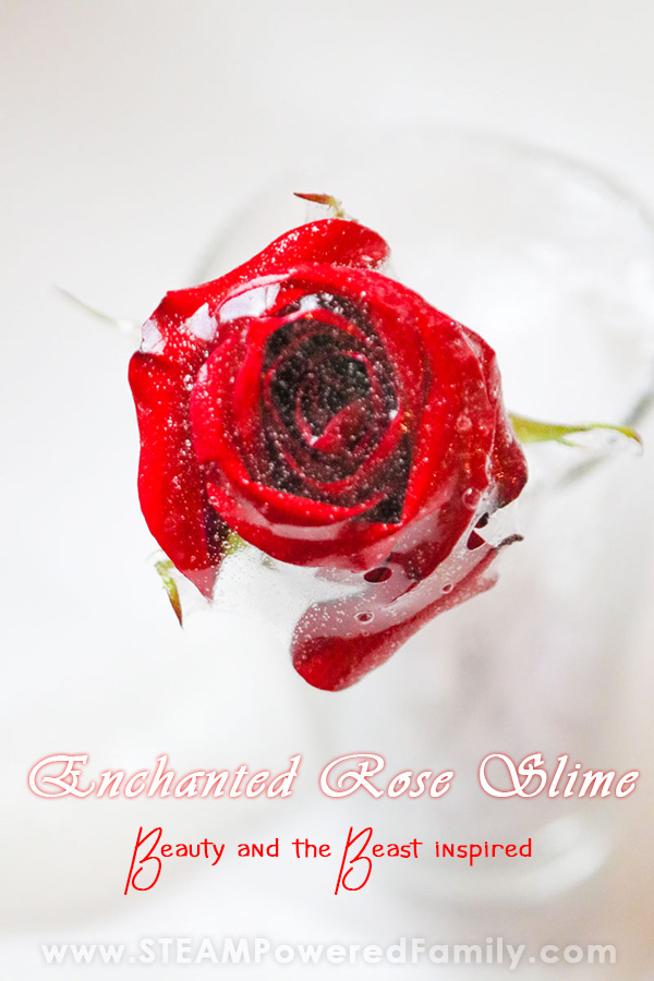 Draping the slime over the rose creates a gorgeous enchanted rose effect, just like Beauty and the Beast