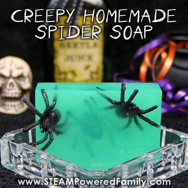 Creepy Homemade Spider Soaps make a great kids project, especially for Halloween