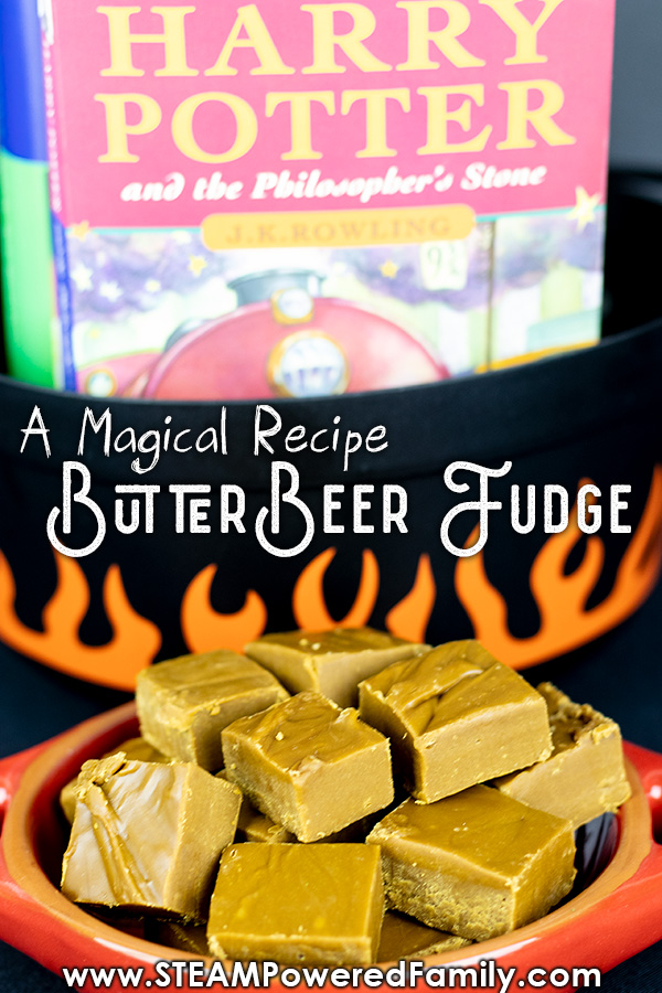 This butterbeer fudge tastes like magic but is so easy for young wizards to make. An easy butterbeer recipe kids will ask to make over and over again. #Butterbeer #HarryPotter #Fudge