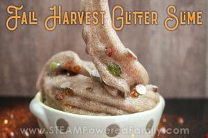 Fall harvest glitter slime smells like a crisp fall morning