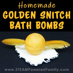 DIY Harry Potter Bath Bomb created to look like a Golden Snitch from Quidditch.