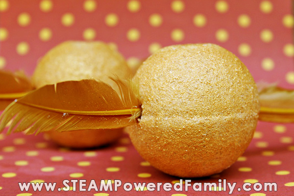 DIY Bath Bombs for Kids, this one is made for the Harry Potter fans and looks like a Golden Snitch