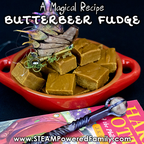 Butterbeer fudge recipe with Harry Potter custom forged wand and winged key
