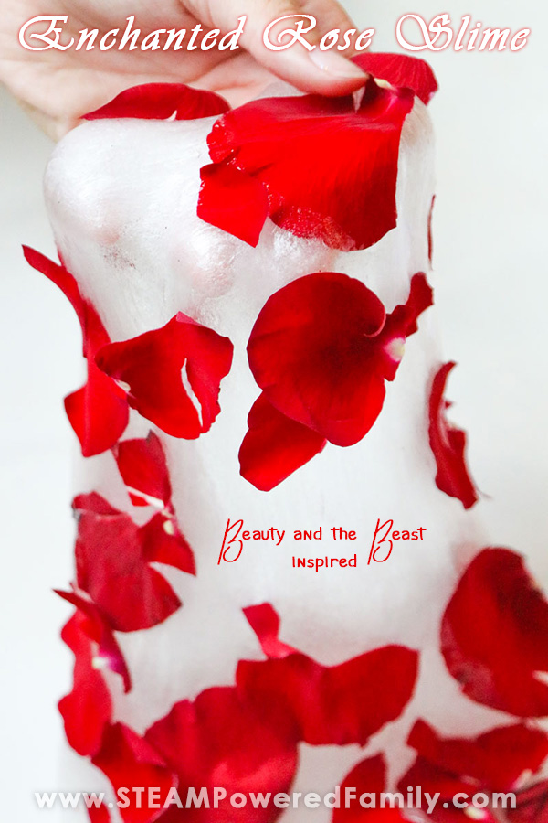 Rose petals make the slime look like a dress that Belle from Beauty in the Beast would twirl across the dance floor in