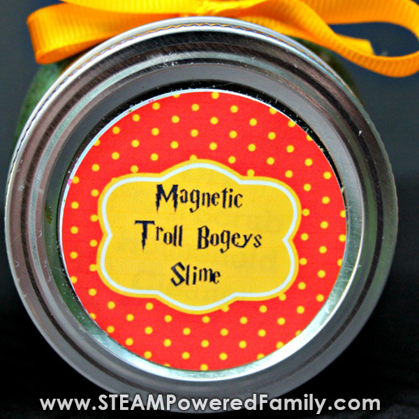 Printable label for magnetic slime storage