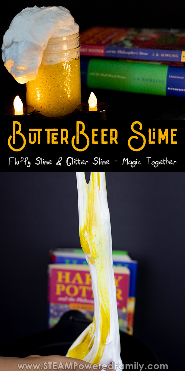 Butterbeer slime is fluffy slime and glitter slime mixed into a magical potion