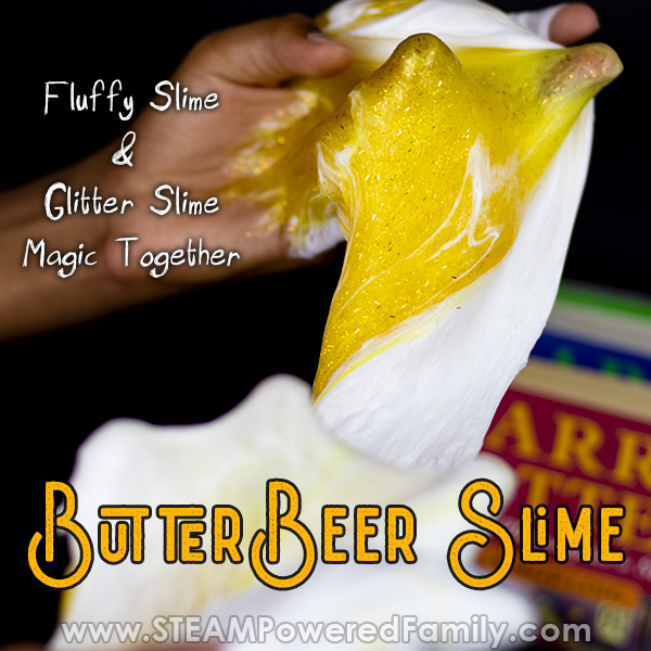 Glitter slime recipe mixed with fluffy slime recipe for butterbeer slime magic