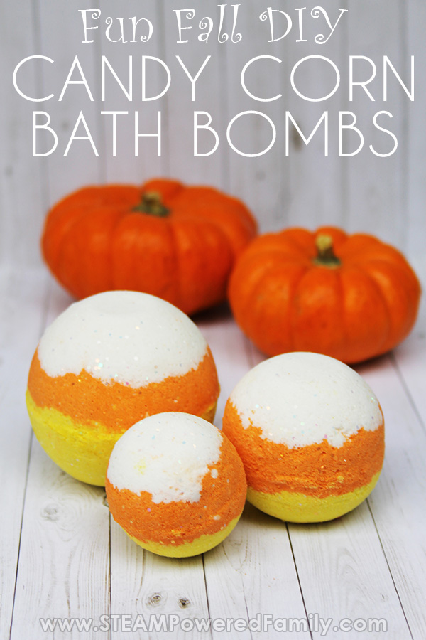 Homemade Candy Corn Bath Bombs Project for fall plus a chemistry lesson