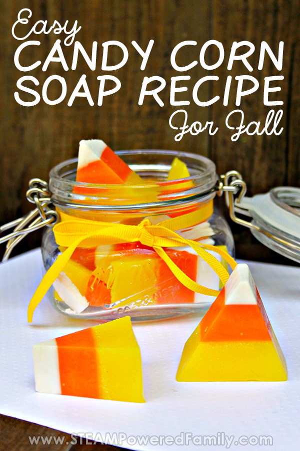 This Goat Milk Soap Recipe is perfect for fall! Great for sensitive, dry skin, this easy soap making project is fun for kids and looks like Candy Corn. #CandyCorn #SoapMaking #FallActivities