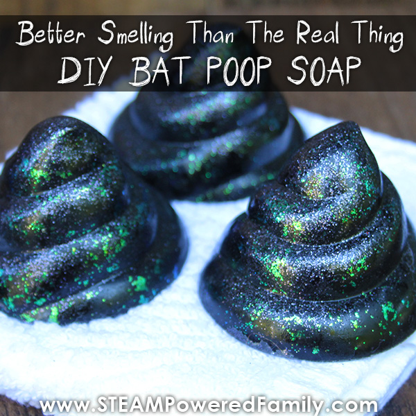 How to make soap - Glittery black bat poop soap for kids